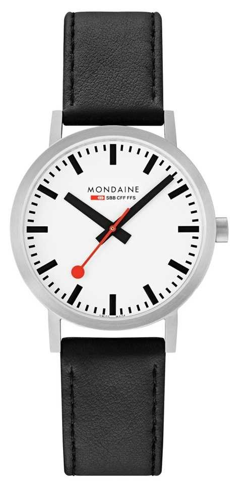 Mondaine Classic 40mm   Black Leather Strap   White Dial A660.30360.16SBB
