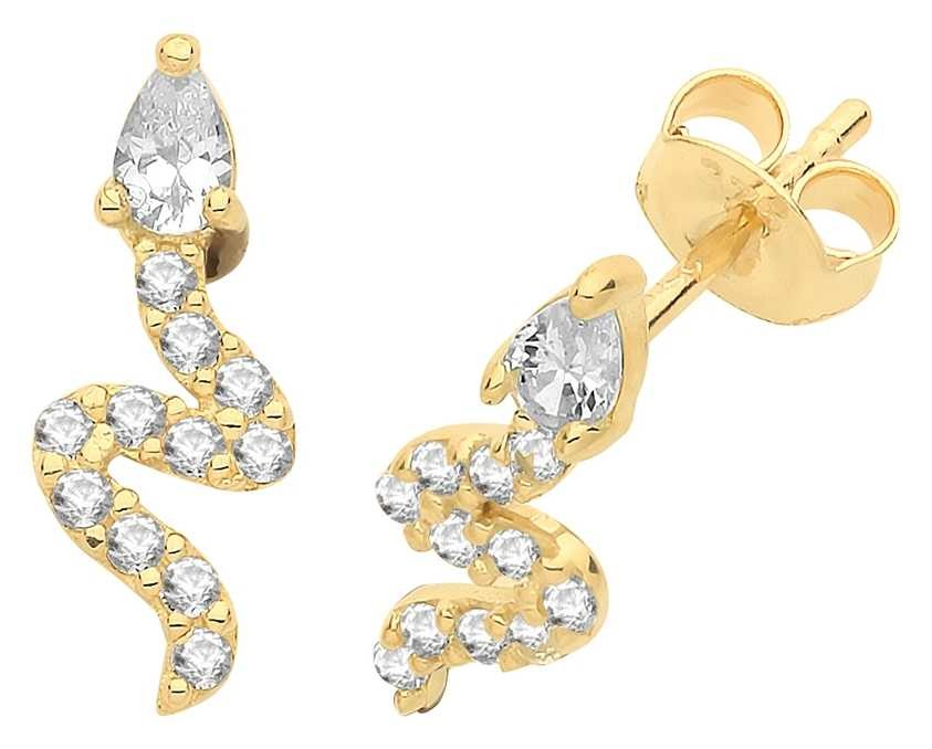 Treasure House 9ct Gold Snake Cz Stud Earrings ES1609