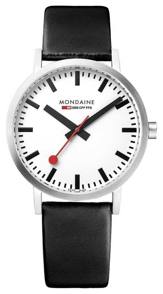 Mondaine Classic 36 mm   Black Leather   White Dial Watch A660.30314.16SBB