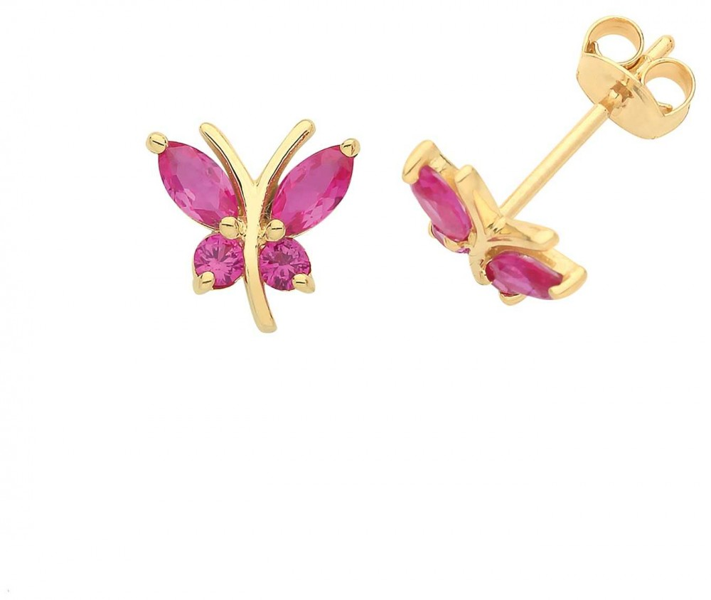 James Moore TH 9ct Gold Pink Cz Butterfly Stud Earrings ES1602R