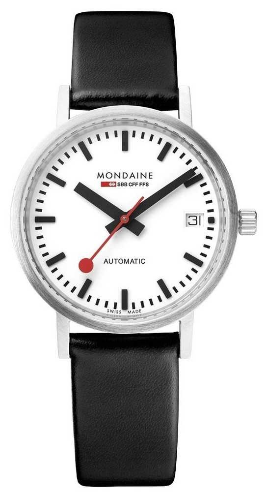 Mondaine Men's Classic Automatic Date 33 Mm | White Dial | Black Leather Watch A128.30008.16SBB