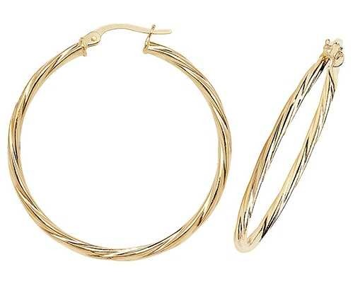 Treasure House 9ct Gold Twist Hoop Earrings ER352