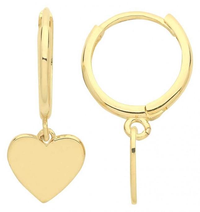 Treasure House 9ct Gold Heart Drop Hoop Earrings ER1175
