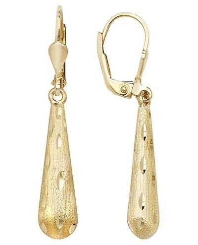 Treasure House 9ct Gold  Lever Back Diamond Cut Drop Earrings ER1071