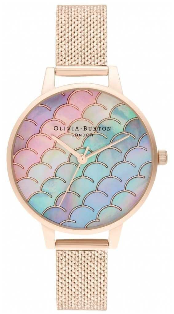 Olivia Burton Mermaid Tail Demi Dial Rose Gold Boucle Mesh Watch OB16US45