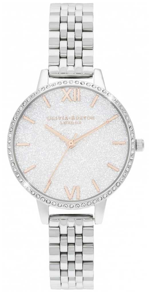 Olivia Burton White Glitter Dial Sparkle Case OB16GD68