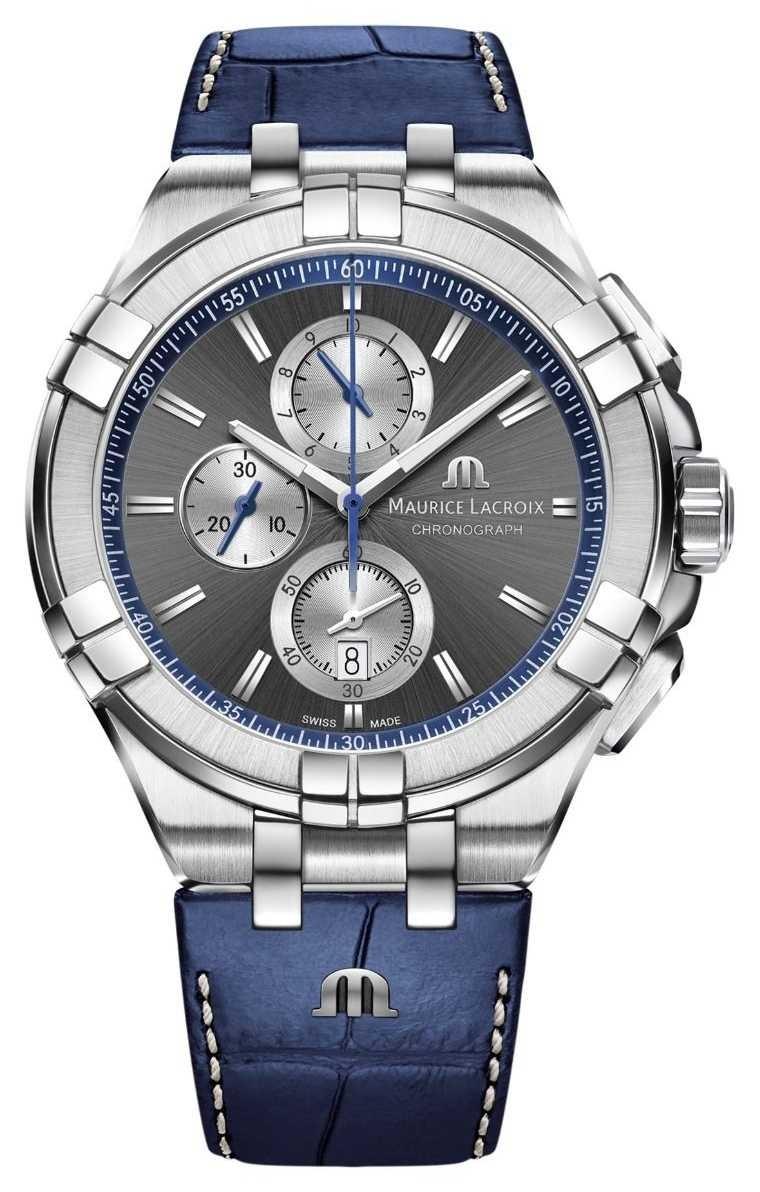 Maurice Lacroix Men's Aikon | Blue Leather Strap | Grey Dial AI1018-SS001-333-1
