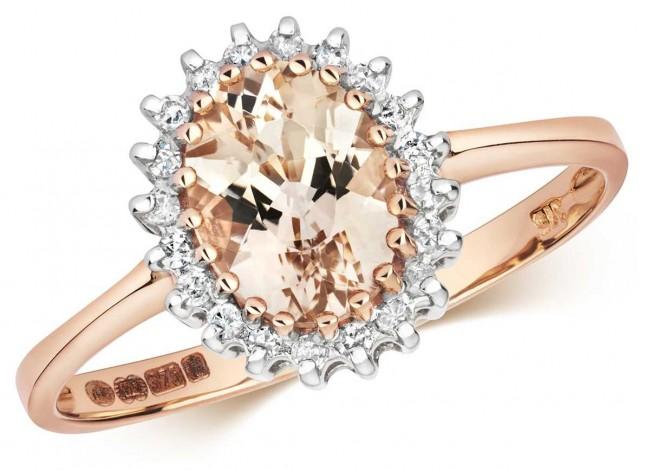 Treasure House 9ct Rose Gold Diamond & Morganite Ring RD298RM