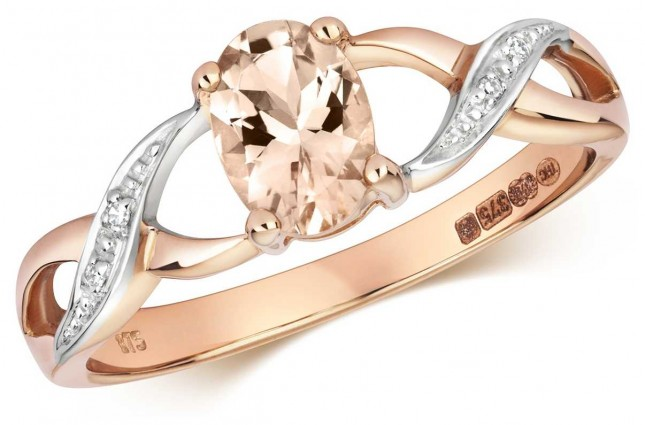 Treasure House 9ct Rose Gold Diamond & Oval Morganite Ring RD468RM