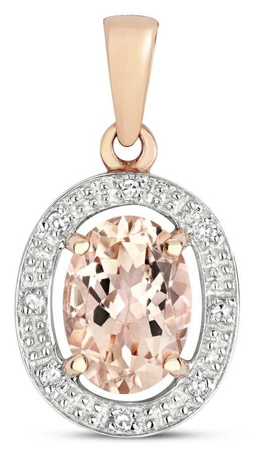 Treasure House 9k Rose Gold Diamond & Morganite Halo Pendant PD251RM