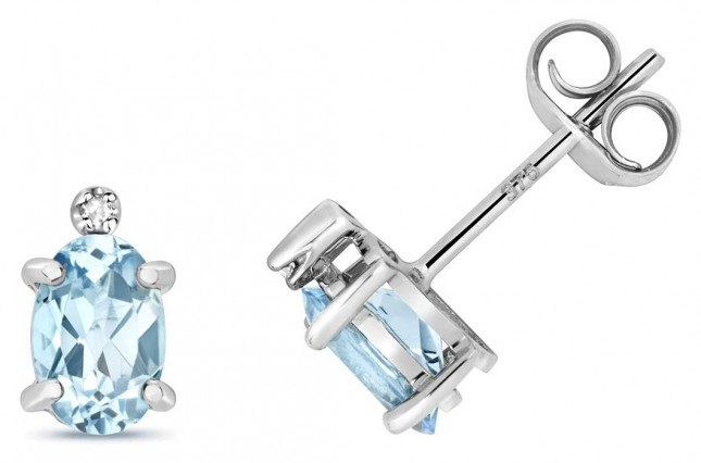 Treasure House 9ct White Gold Diamond & Aquamarine Studs ED268WAQ