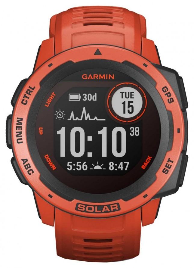 Garmin Instinct Solar GPS Flame Red Rubber Strap 010-02293-20