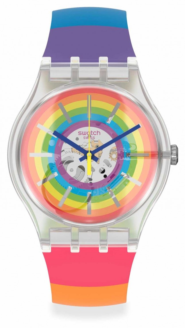 Swatch | #OPENSUMMER | Multi-Coloured Silicone Strap | Rainbow Dial | SUOK148