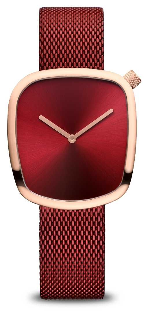 Bering Classic   Polished Rose Gold   Red Mesh 18034-363