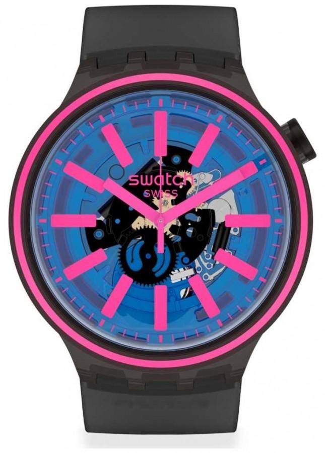 Swatch BLUE TASTE | Black Rubber Strap | Blue/Pink Dial SO27B111