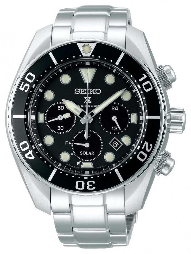 Seiko Prospex Gents Solar   Stainless Steel Bracelet   Black Dial SSC757J1