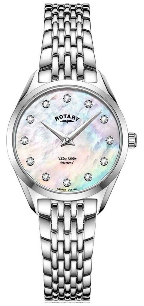 Rotary Women's Ultra Slim | Stainless Steel Bracelet | Diamond Mother Of Pearl Dial LB08010/07/D