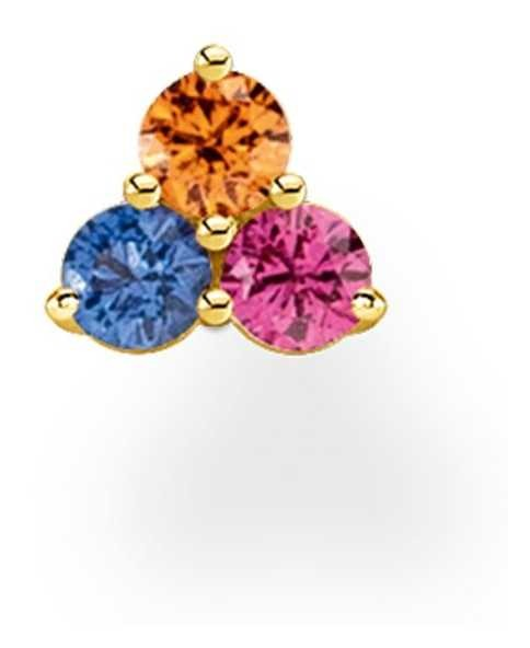Thomas Sabo 18k Yellow Gold Plated Colourful Stones Single Stud Earring H2138-488-7