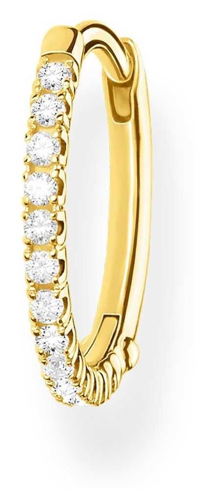 Thomas Sabo 18k Yellow Gold Single Hoop Earring   Silver Stones 15mm CR657-414-14