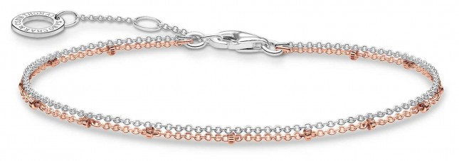 Thomas Sabo 18k Rose Gold Plated/Sterling Silver Double Bracelet A1997-415-40-L19V
