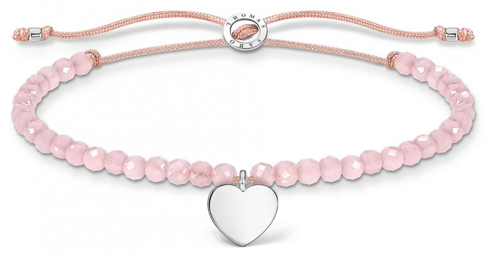 Thomas Sabo Charming | Silver Heart Rose Quartz Beaded Tie Bracelet A1985-813-9-L20V