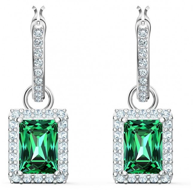 Swarovski Angelic | Rectangle Pierced Earrings | Green |Rhodium Plated 5559834