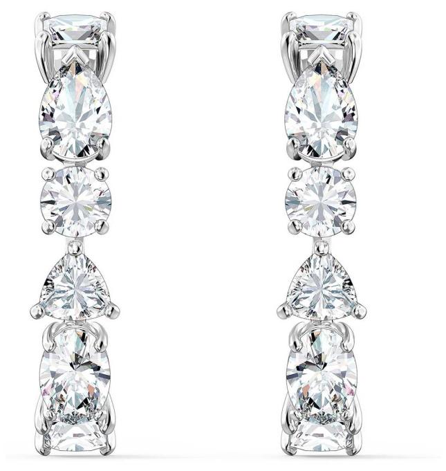 Swarovski Tennis Deluxe | Pierced Drop Earrings |Rhodium Plated |White 5563322