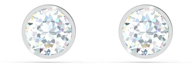 Swarovski Tennis | Stud Pierced Earrings | Rhodium Plated | White 5565604