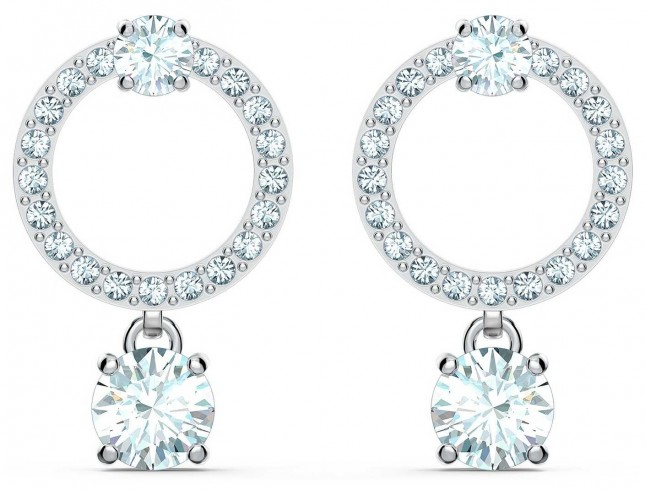 Swarovski Attract | Circle Pierced Earrings | Rhodium Plated | White 5563278