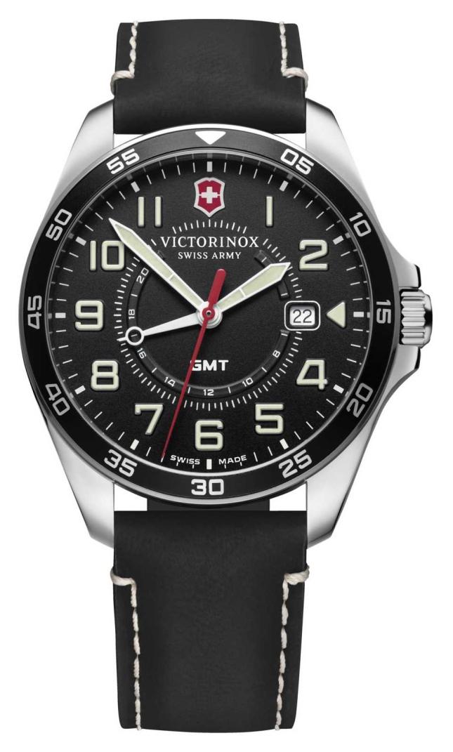 Victorinox Swiss Army | Men's FieldForce GMT | Black Leather Strap | Black Dial 241895