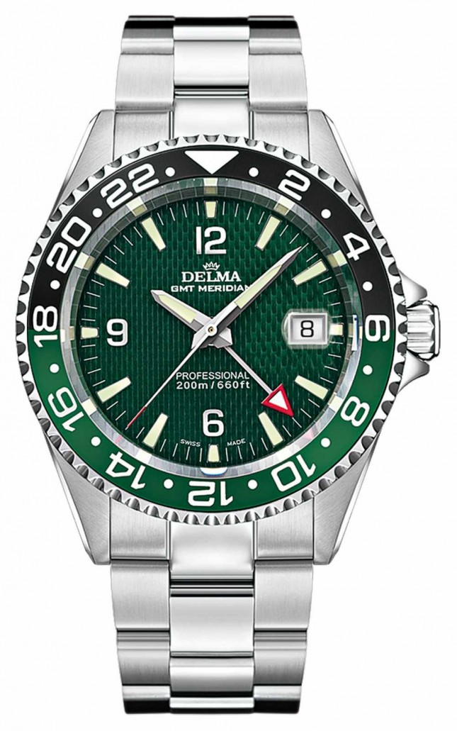 Delma Quartz GMT | Two-Tone Bezel | Stainless Steel Bracelet 41701.648.6.144