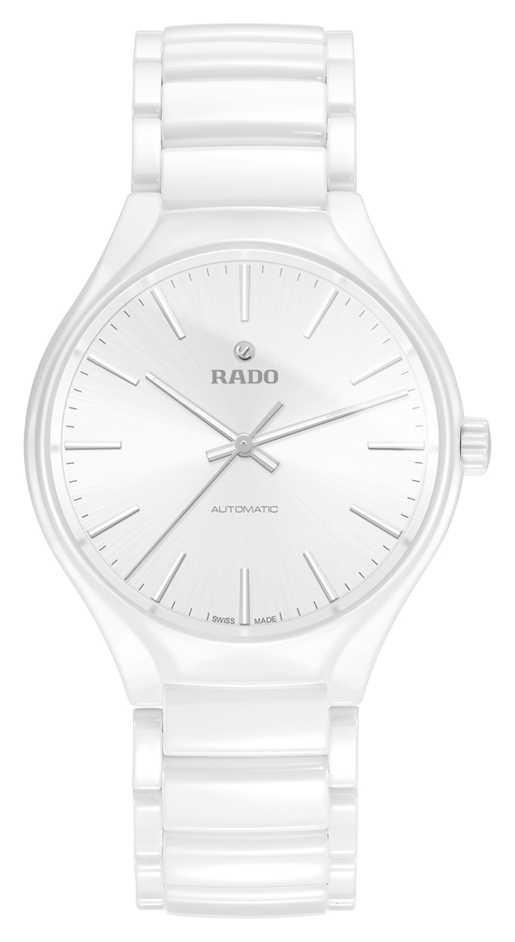 RADO True L Mens Automatic White Ceramic Strap Silver Batons R27058012