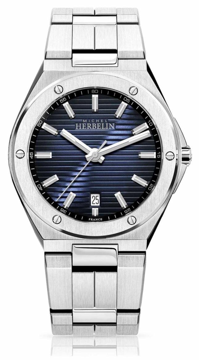 Michel Herbelin Men's Stainless Steel Watch Blue Dial 12245/B15