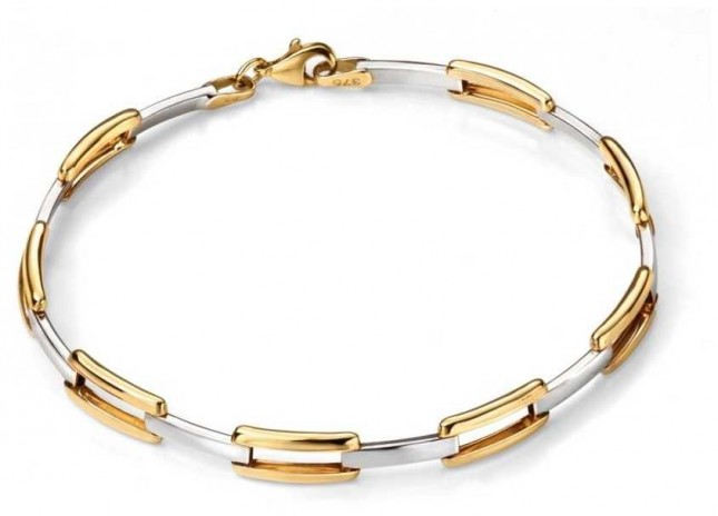 Elements Gold 9ct Yellow Gold And White Gold  Open Link Rectangle  Bracelet GB427