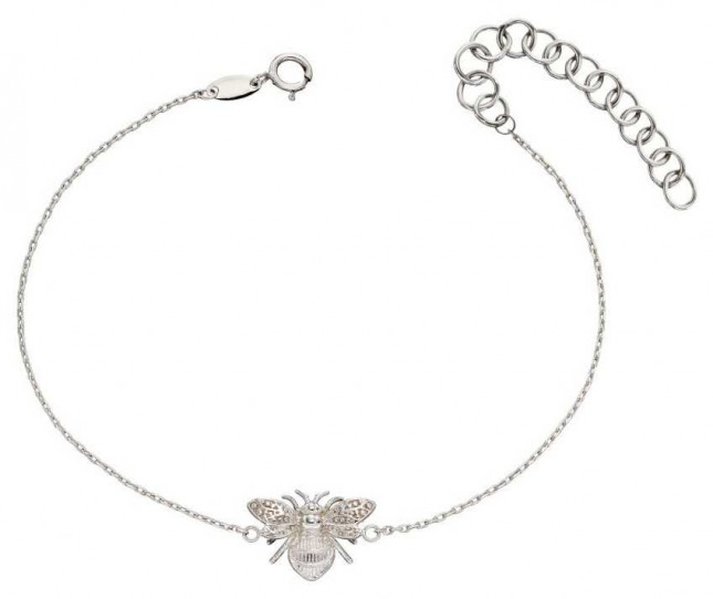 Elements Gold 9ct White Gold  Bee Bracelet (17-20cm) GB482