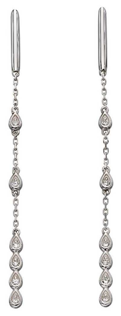 Elements Gold 9k White Gold  Diamond Teardrop Chain Earrings GE2192