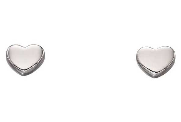 Elements Gold 9ct White Gold Small Heart Stud Earrings GE2178