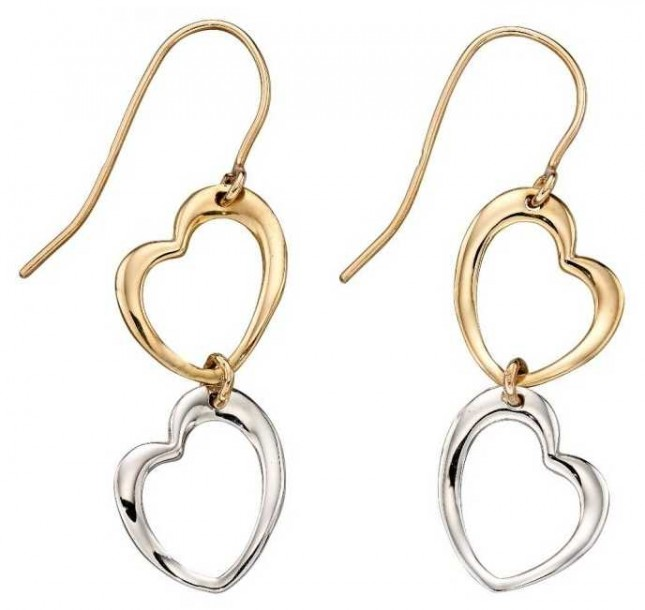Elements Gold 9ct Yellow Gold And White Gold  Open Heart Link Drop Earrings GE2222