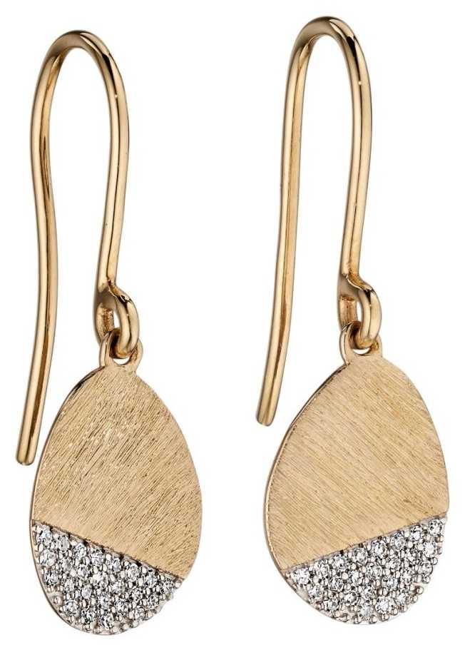 Elements Gold 9ct Yellow Gold Matte Oval Diamond Drop Earrings GE2196