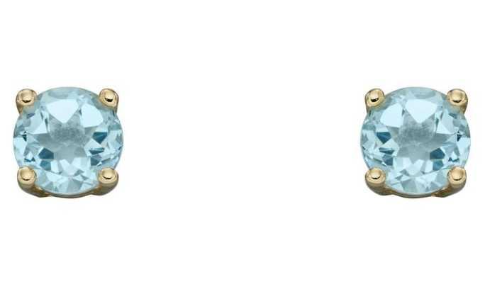 Elements Gold 9k Yellow Gold Aqua Birthstone Studs GE2328