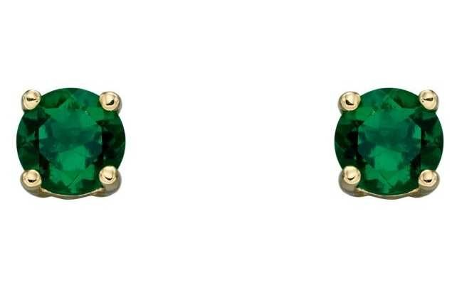 Elements Gold 9ct Yellow Gold Emerald Cz May Birthstone Studs GE2330