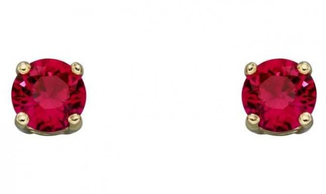 Elements Gold 9ct Yellow Gold  Ruby Cz July Birthstone Studs GE2332