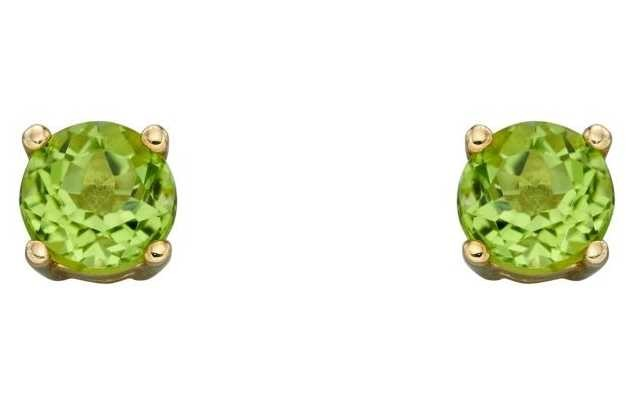 Elements Gold 9ct Yellow Gold Cz Peridot August Birthstone Studs GE2333