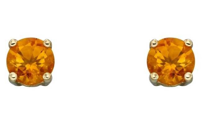 Elements Gold 9ct Yellow Gold Citrine Cz November Studs GE2336