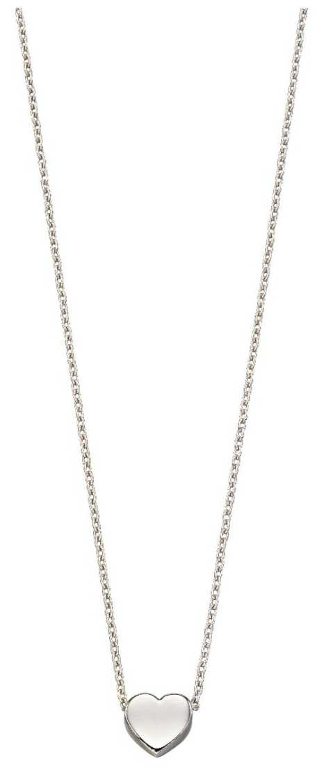 Elements Gold 9ct White Gold Plain Small Heart Necklace GN308