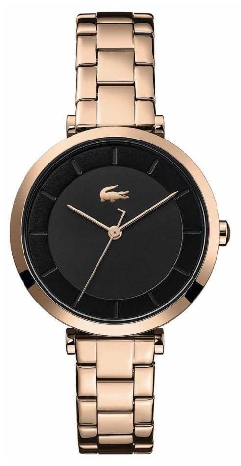 Lacoste   Women's   Geneva   Rose Gold Steel Bracelet   Black Dial   2001142