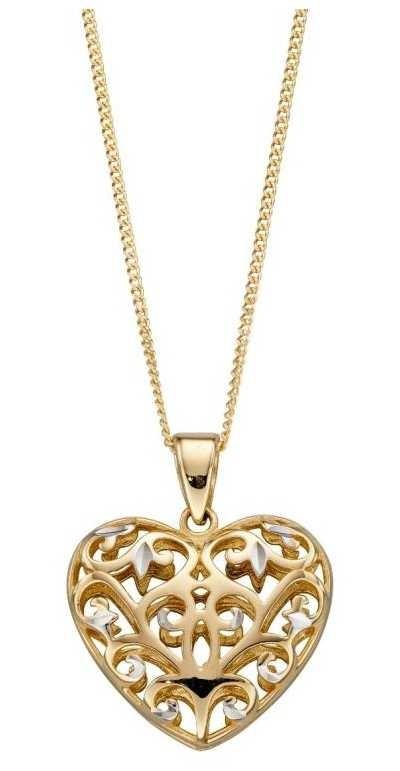 Elements Gold 9ct Y/g W/g Filigree Open Heart Pendant GP2229