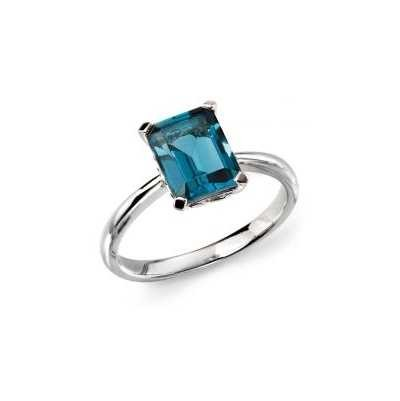 Elements Gold 9ct W/g Ldn Blue Topaz Ring Size UK O GR504T