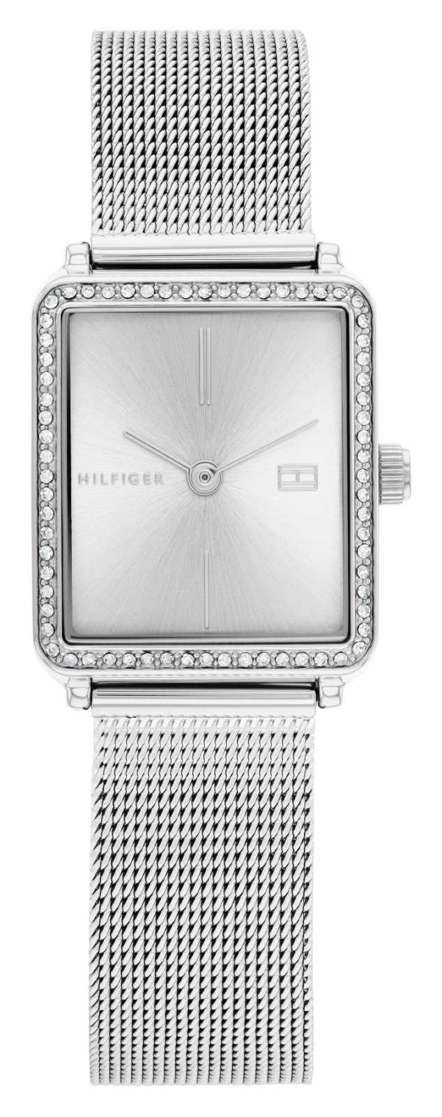 Tommy Hilfiger Women's Tea   Steel Mesh Bracelet   Silver Square Dial   1782294