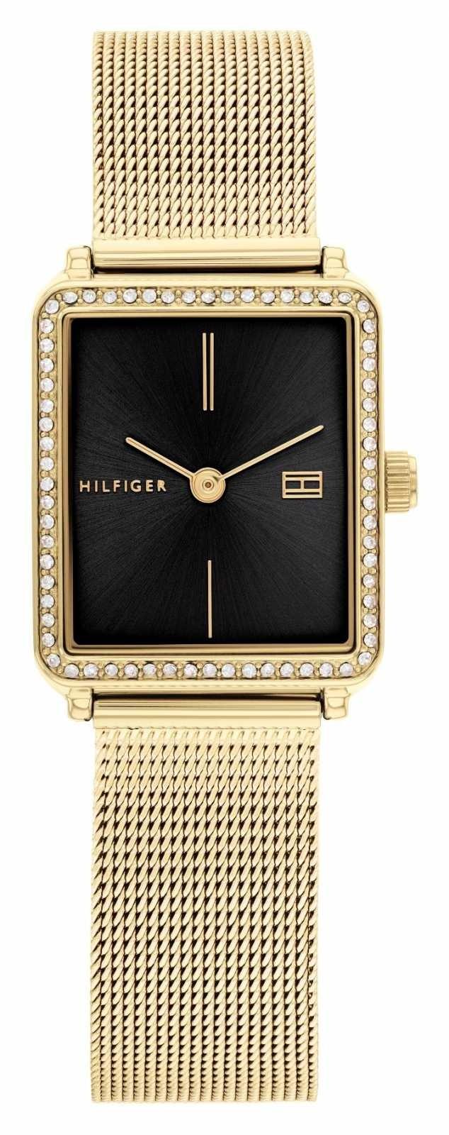 Tommy Hilfiger Women's Tea   Gold Plated Mesh Bracelet   Black Square Dial 1782295